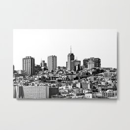 city view at San Francisco in black and white Metal Print