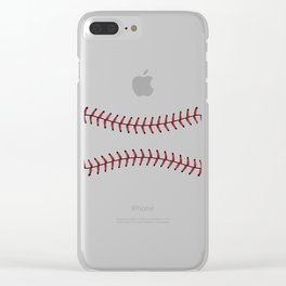 Baseball Lace Background Clear iPhone Case