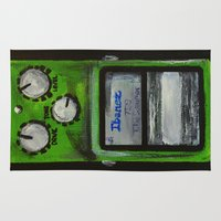 """u2 Area & Throw Rugs featuring Ibanez TS-9 Tube Screamer Guitar Pedal acrylics on 5"""" x 7"""" canvas board by James Peart"""