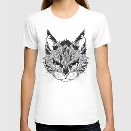 WILD CAT head. psychedelic / zentangle style T-shirt