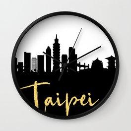 TAIPEI TAIWAN DESIGNER SILHOUETTE SKYLINE ART Wall Clock