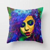 selena gomez Throw Pillows featuring Selena (pop) by    Amy Anderson
