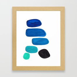 Colorful Mid Century Modern Pop Art Minimalist Style Teal Blue Aquamarine Bubbles White Background Framed Art Print