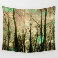 fairies Wall Tapestries featuring Fairies in a woods  by MinaSparklina