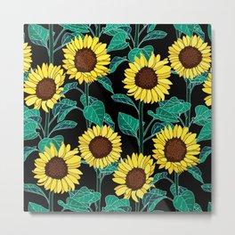 Sunny Sunflowers - Black Metal Print