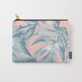 Tropical Leaves Ocean Blue on Coral Pink Carry-All Pouch