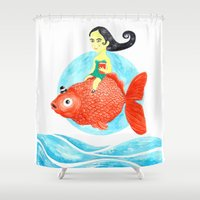 fish Shower Curtains featuring Fish by gunberk