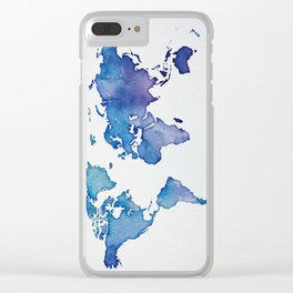 Blue World Map 02 Clear iPhone Case