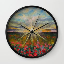 Starlight Poppies Wall Clock