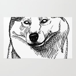 Siberian Husky Portrait Rug