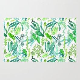 Tropical Leaves Watercolor Pattern Rug