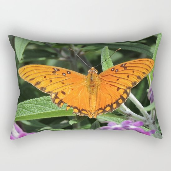 A Gulf Fritillary Shows Wear and Tear Rectangular Pillow