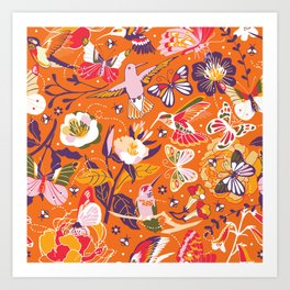 Garden pollinators | orange Art Print
