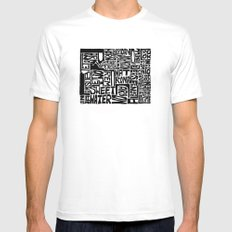 Typographic Wyoming White Mens Fitted Tee MEDIUM