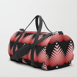 Pattern of pomegranate hearts and flowers on a black background. Duffle Bag