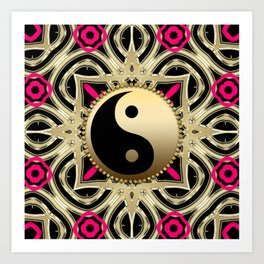 YinYang Gold+Black Art Print