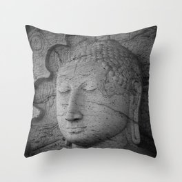 Seated Buddha statue in dhyana mudra pose at Gal Viharaya Throw Pillow
