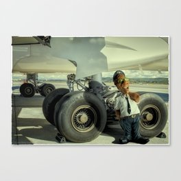 Cpt Roger Cambion, checking tires... Canvas Print