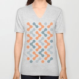 Colorful Shapes (salmon and gray) Unisex V-Neck