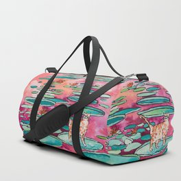 Ginger Cat amongst the Lily Pads on a Pink Lake Duffle Bag