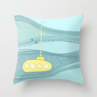 submarine Throw Pillows featuring Yellow Submarine by Anita Ivancenko