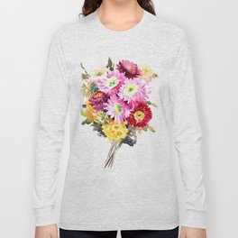 Flowers, Pink Red Yellow Floral design art Long Sleeve T-shirt