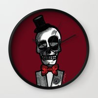 gentleman Wall Clocks featuring Gentleman by Skullmuffins