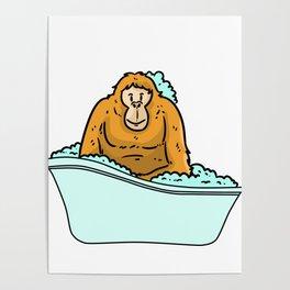 Bathtub monkey Poster