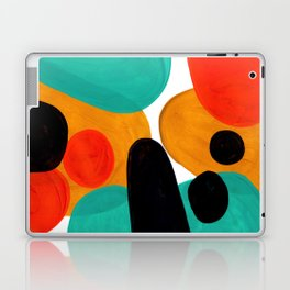 Mid Century Modern Abstract Minimalist Retro Vintage Style Rolie Polie Olie Bubbles Teal Orange Laptop & iPad Skin