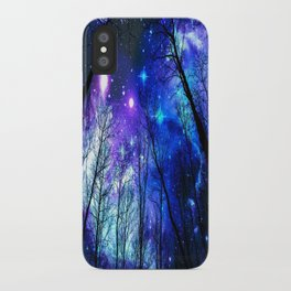 black trees purple blue space iPhone Case