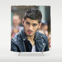 zayn Shower Curtains featuring Zayn Malik by behindthenoise