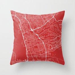 Chula Vista Map, USA - Red Throw Pillow