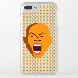 orange color male head screaming face pattern digital art zolliophone Clear iPhone Case