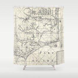 Vintage Map of Eastern North Carolina (1738) Shower Curtain