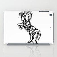 pentagram iPad Cases featuring Pentagram Tribal Horse by Arixona
