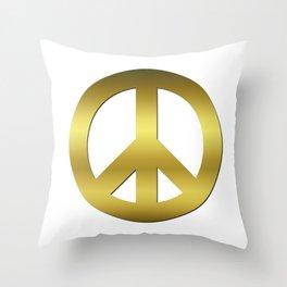 Golden CND Peace Symbol Throw Pillow
