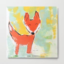 Bright and Happy Fox Metal Print