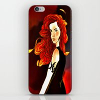 mortal instruments iPhone & iPod Skins featuring Clary Fray from The Mortal Instruments by Cassandra Clare by Amitra Art