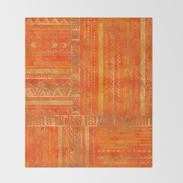 Tribal Ethnic pattern gold on bright orange Throw Blanket