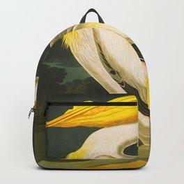 White Pelican John James Audubon Scientific Vintage Illustrations Of American Birds Backpack