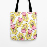 peach Tote Bags featuring peach by guizmo04