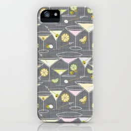 Shaken Not Stirred - Hand-Drawn Martinis - Gray Background w- Texture iPhone Case
