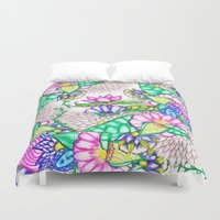 preppy Duvet Covers featuring Bright modern botanical preppy floral watercolor by Girly Trend