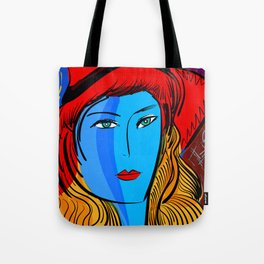 Christmas Blue Pop Girl with Red Hat Tote Bag