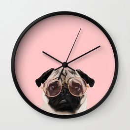 Intellectual Pug Wall Clock