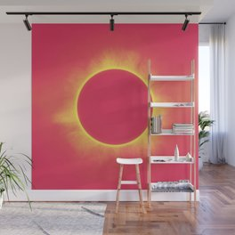 Solar Eclipse in Bright Red Wall Mural