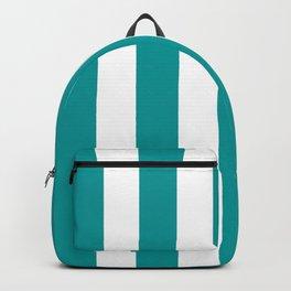 Viridian green blue - solid color - white vertical lines pattern Backpack