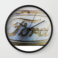 ford Wall Clocks featuring Ford by Sarah Welch