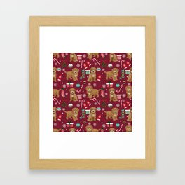 Bichpoo christmas dog breed holidays pet gifts pet friendly stockings candy canes snowflakes Framed Art Print