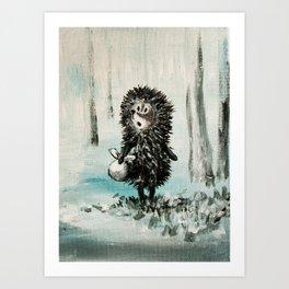 Hedgehog in the fog Art Print